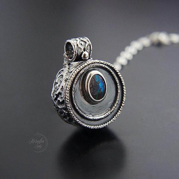 ad06ec81 KORNELIA SUS - Świętojański ognik - srebrny dwustronny naszyjnik z ...