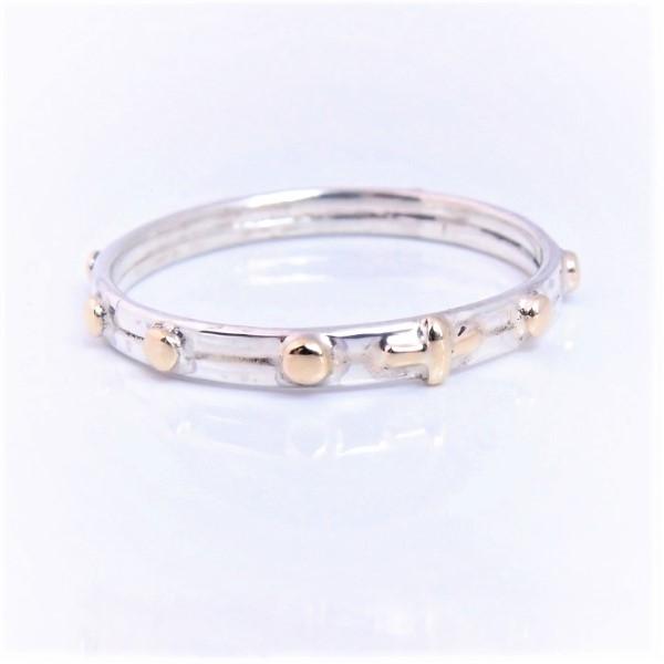 60acba58e04f91 srebrno-złoty... pierścionek różaniec / lookrecya / Biżuteria / Pierścionki