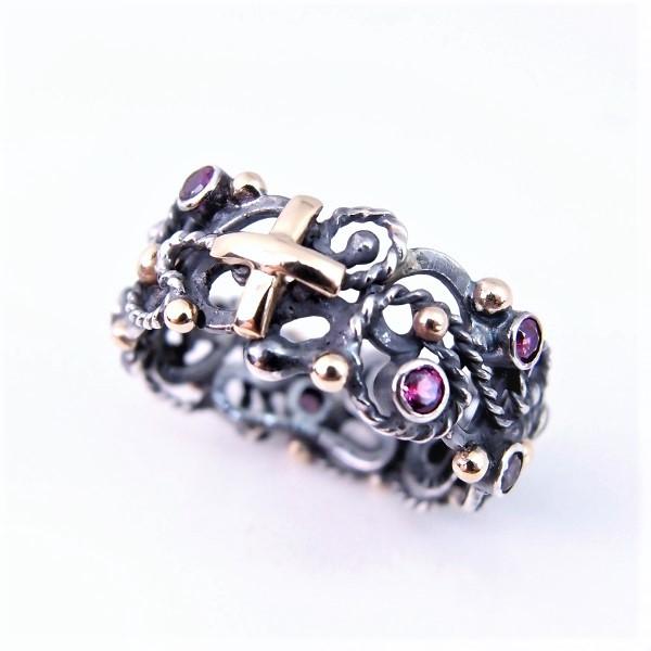 e8ee930983eff9 różaniec na palec w srebrze, złocie i kamieniach / lookrecya / Biżuteria /  Pierścionki