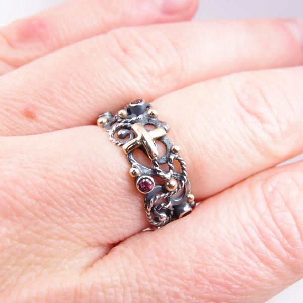 29ffff3cd50eec różaniec na palec w srebrze, złocie i kamieniach / lookrecya / Biżuteria /  Pierścionki ...
