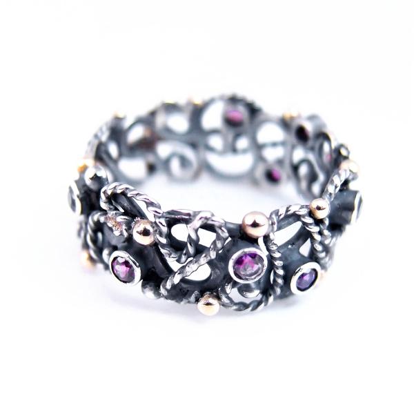 77ae1f65f31591 ... różaniec na palec w srebrze, złocie i kamieniach / lookrecya /  Biżuteria / Pierścionki