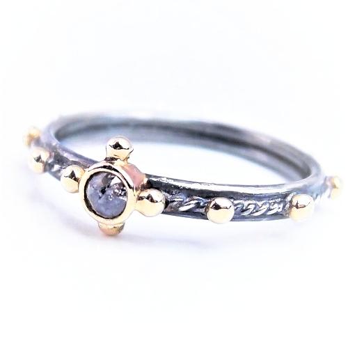 6d479ef056c7b9 ... diamond pray... srebrno-złoty różaniec z diamentem / lookrecya /  Biżuteria /