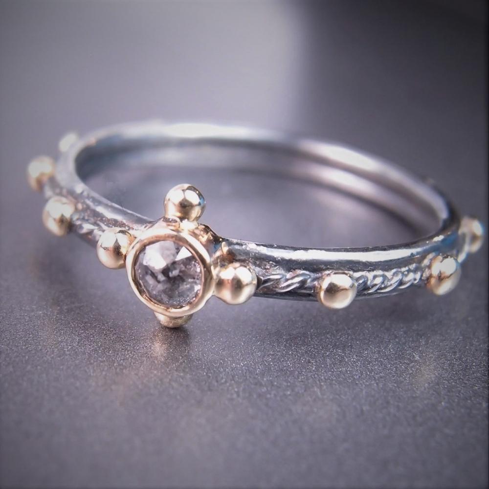 609379e831d704 diamond pray... srebrno-złoty różaniec z diamentem / lookrecya / Biżuteria /