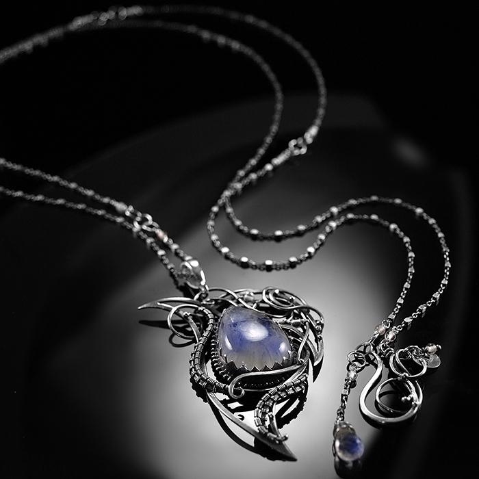 36258c83e905 CIBA - Neelam - delikatny srebrny naszyjnik z kamieniem księżycowym ...
