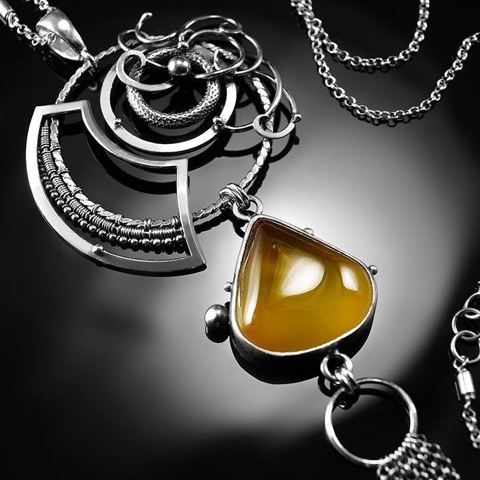 a6cb2ffabec58b Marlis - oryginalny srebrny naszyjnik z żółtym kwarcem rutylowym, wykonany  ręcznie / CIBA / Biżuteria