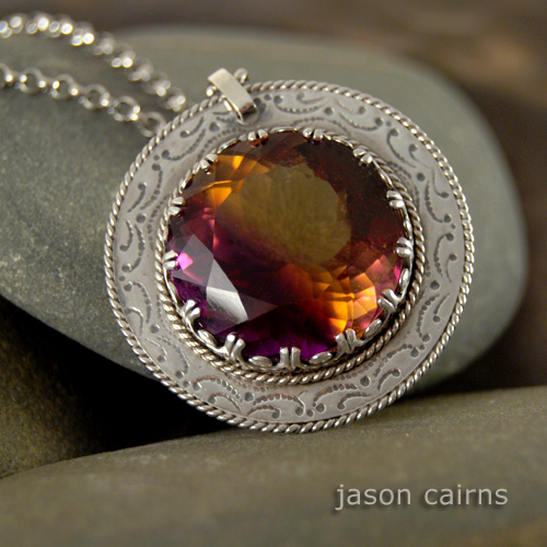 Galeria Trendymania, Biżuteria, Naszyjniki, Ametrine - Srebrny Romantyczny Wisior z Okazałym Ametrynem :  necklace jewellery pendant plum